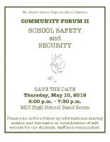 School Safety Community Forum Flyer 051018