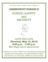 School Safety Community Forum Flyer 051018